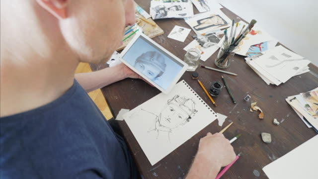 Painting portrait with ink.