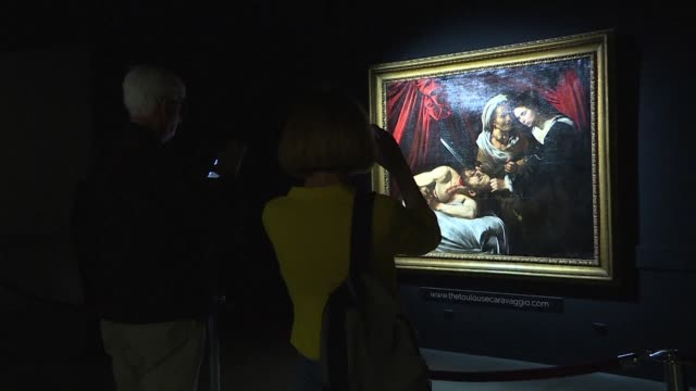 painting thought to be a lost masterpiece by italian painter caravaggio has been bought two days before it was due to go under the hammer in france - kunst, kultur und unterhaltung stock-videos und b-roll-filmmaterial