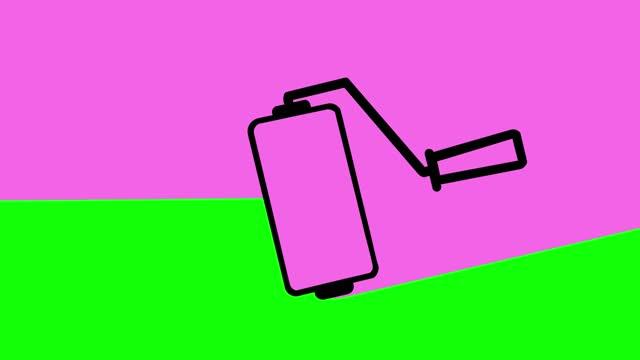 vídeos de stock e filmes b-roll de painting transition animation green-pink - acabamento mate