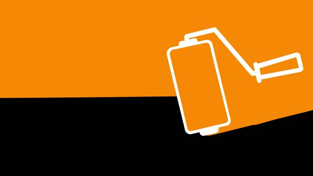 painting transition animation orange-black - paint roller stock videos & royalty-free footage