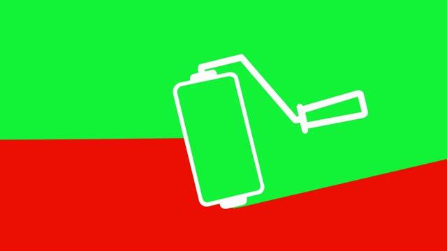 vídeos de stock e filmes b-roll de painting transition animation red-green - acabamento mate