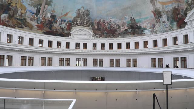 """paintings decorate the dome at the contemporary art museum """"la bourse de commerce pinault collection"""" owned by billionaire francois pinault on may... - collection stock videos & royalty-free footage"""