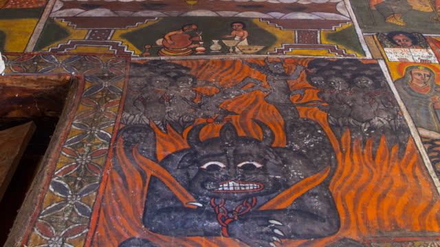 paintings in debre monastery - gondar stock videos and b-roll footage