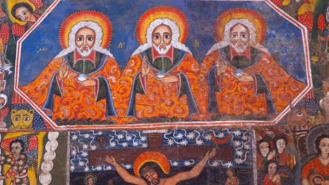 paintings in debre monastery - christianity stock videos & royalty-free footage