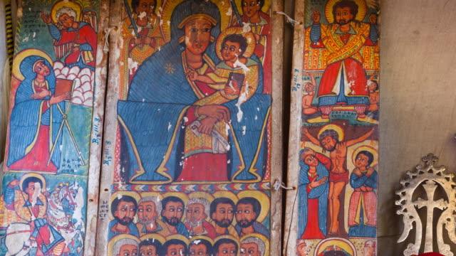 paintings in nakuta la'ab monastery - female likeness stock videos & royalty-free footage