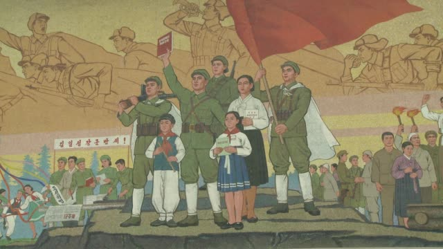paintings in pyongyang north korea - north korea stock videos & royalty-free footage