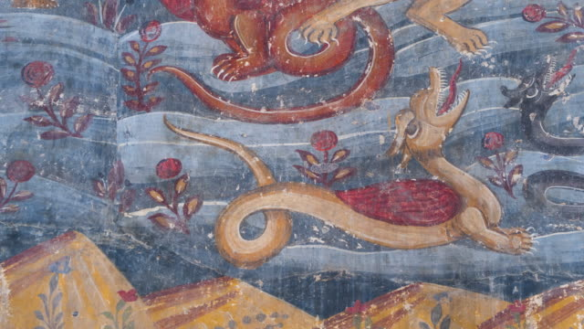 paintings in svetitsjoveli cathedral, world heritage site, unesco, mtskheta city, mtskheta-mtianeti region, georgia, middle east - mythology stock videos & royalty-free footage