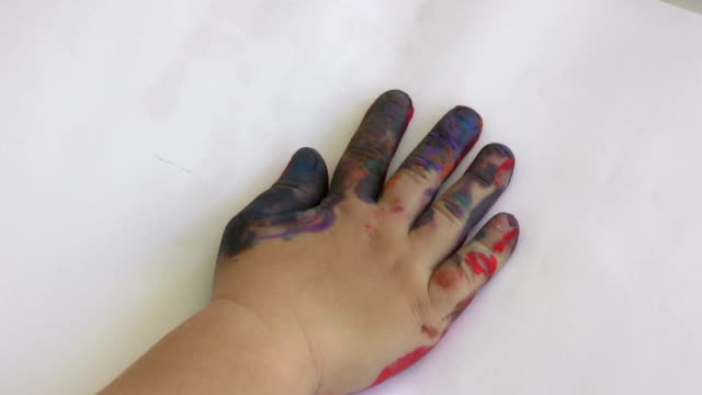 paints on little hands - small stock videos & royalty-free footage