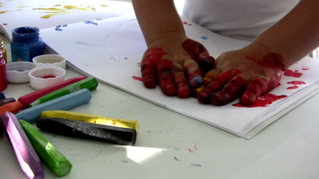 paints - finger painting stock videos and b-roll footage