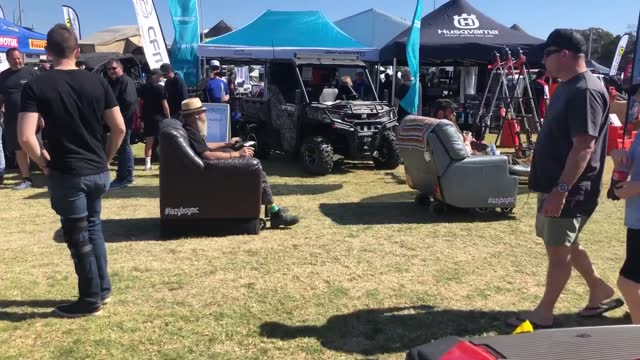 pair of men attending the https://bigboystoysexpo.com.au/big-boys-toys-expos/newcastle/ big boys toys expo in newcastle, new south wales, on august... - https stock-videos und b-roll-filmmaterial