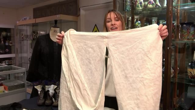 pair of queen victoria's bloomers go on auction england london teddington hanson's auction house queen victoria's bloomers tilt up reporter to camera... - lingerie stock videos & royalty-free footage