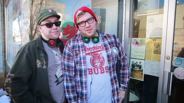 stockvideo's en b-roll-footage met pair of record shoppers, who are first in line after arriving at 5:30 a.m., talk about the records they are looking for at landlocked records during... - audio available