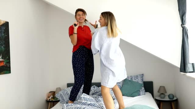 pajamas party - singing stock videos & royalty-free footage