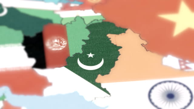 pakistan borders wiht national flag on world map - sindh pakistan stock videos and b-roll footage