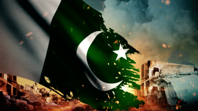 4k pakistan flag - crisis / war / fire (loop) - nuclear bomb stock videos & royalty-free footage