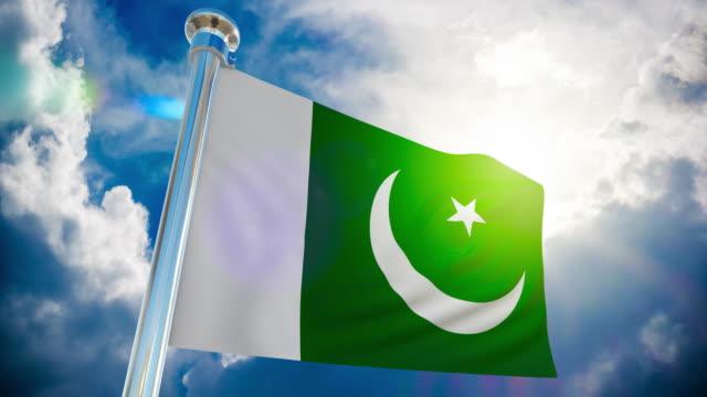 4k - pakistan flag | loopable stock video - pakistani flag stock videos & royalty-free footage