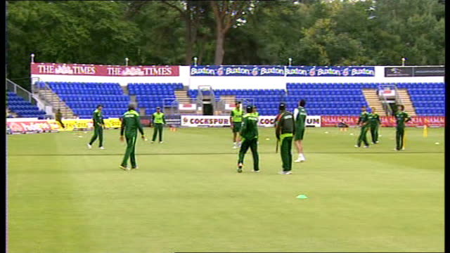 further allegations WALES Cardiff EXT Pakistan Cricket Team training session on pitch Shahid Afridi interview SOT Pakistan Cricket Team training...