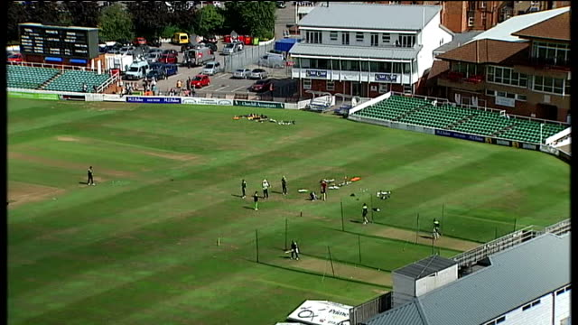 three cricketers face questioning ENGLAND Somerset Taunton Town centre and rooftops of houses seen from above Elevated view of Pakistan team on...