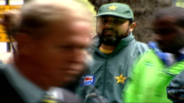 pakistan players arrive for training at lords cricket ground england london lords ext coach along carrying pakistan cricket team / cricket players... - pakistan stock videos & royalty-free footage