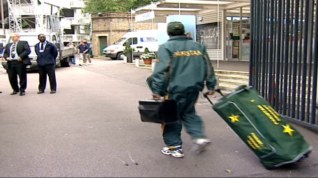 pakistan players arrive for training at lords cricket ground more of pakistan cricketers arriving at lords for training - lords cricket ground stock videos and b-roll footage
