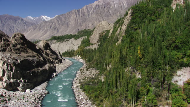 pakistan: river in hunza valley - valley stock videos & royalty-free footage