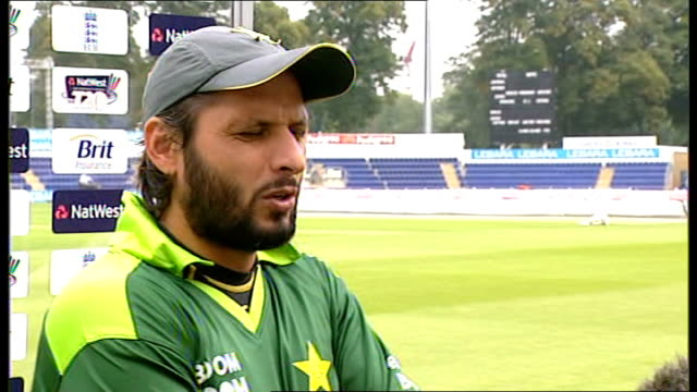 Shahid Afridi press conference / training session WALES Cardiff EXT Shahid Afridi press conference SOT All focus on the Twenty20 and One Day matches...