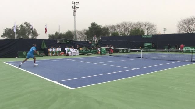 pakistan welcomed friday the return of international tennis after a 12year hiatus taking a 20 lead against iran in a group ii davis cup match in... - international match stock videos & royalty-free footage