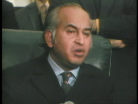 pakistani foreign minister zulfikar ala bhutto complains at a d.c. press conference about united states support of indian aggression of pakistan. - 1971 stock videos & royalty-free footage