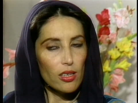 pakistani people's party leader benazir bhutto recalls her feelings upon returning from exile to pakistan in 1986 - (war or terrorism or election or government or illness or news event or speech or politics or politician or conflict or military or extreme weather or business or economy) and not usa stock videos & royalty-free footage
