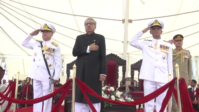 pakistani president arif alvi attends the commissioning ceremony of pakistan navy fleet tanker in karachi pakistan on october 16 2018 pakistani naval... - karachi stock videos and b-roll footage