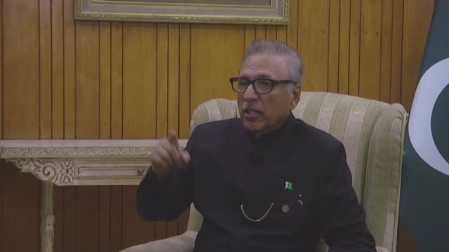 pakistani president arif alvi speaks during an exclusive interview in islamabad, pakistan on september 16, 2019. - 2019 stock videos & royalty-free footage