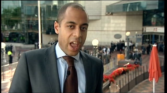 Pakistani President Asif Ali Zardari speech in Birmingham disrupted by protestors Birmingham EXT Reporter to camera