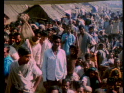 pakistani refugees crowd together in a camp in kalyani, india. - (war or terrorism or election or government or illness or news event or speech or politics or politician or conflict or military or extreme weather or business or economy) and not usa stock videos & royalty-free footage