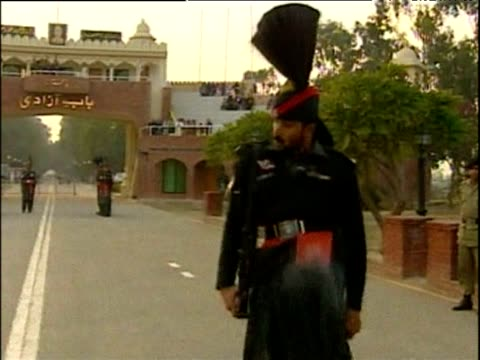 pakistani soldier carries out parading ceremony on indian border pakistan - pakistan stock videos and b-roll footage