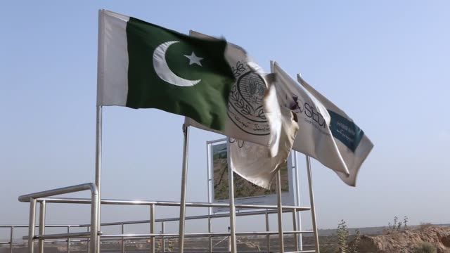 a pakistani worker next to a national flag of pakistan at the sindh engro coal mining co site in the thar desert pakistan on thursday march 9 a... - 発電所関係の職業点の映像素材/bロール