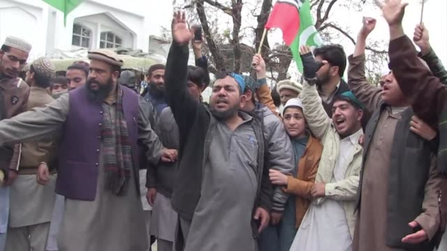 Pakistanis hold an anti India protest in Islamabad after a rare aerial dogfight between nuclear armed India and Pakistan in the skies over the...
