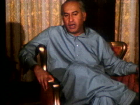 pakistan's president zulfikar ali bhutto speaks about foreign relations with the us and china - united states and (politics or government) stock videos & royalty-free footage