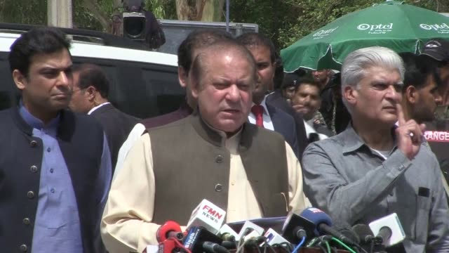 Pakistan's prime minister Nawaz Sharif appears before an anti corruption investigation commission in an ongoing case that has gripped Pakistan and...