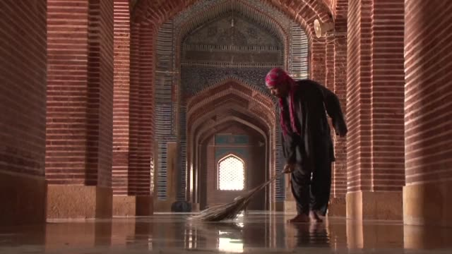 pakistans shah jahani mosque is a rare example of the countrys mughal heritage outside of the cultural centre of lahore - mughal empire stock videos and b-roll footage