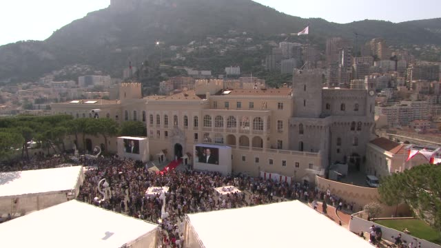 palace and crowds at the monaco royal wedding first appearance of married couple at monaco - royal palace monaco stock videos and b-roll footage
