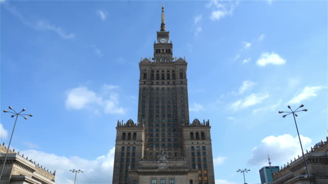 palace of culture and science in warsaw, poland - warsaw stock videos & royalty-free footage