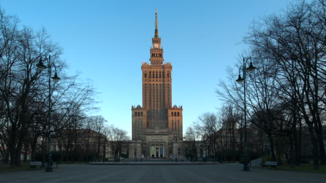palace of culture building in warsaw during covid-19 - warsaw stock videos & royalty-free footage
