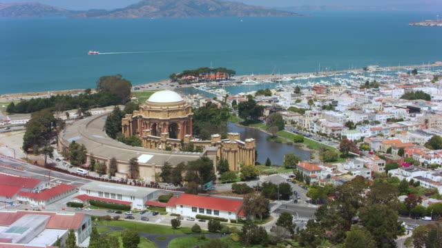 マリーナ地区、サンフランシスコ、カリフォルニア州の美術の空中宮殿 - 丸屋根点の映像素材/bロール