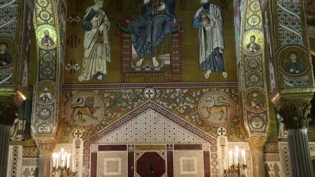 palace of the normans (palazzo dei normanni), palatine chapel, interior views, magnificent mosaics decorations, palermo, sicily - christianity stock videos & royalty-free footage