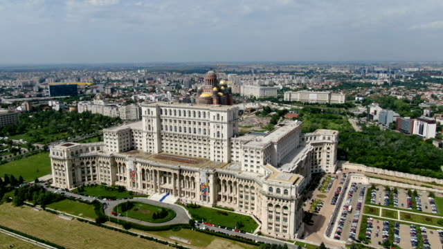 palace of the parliament / aerial drone view - romania stock videos & royalty-free footage