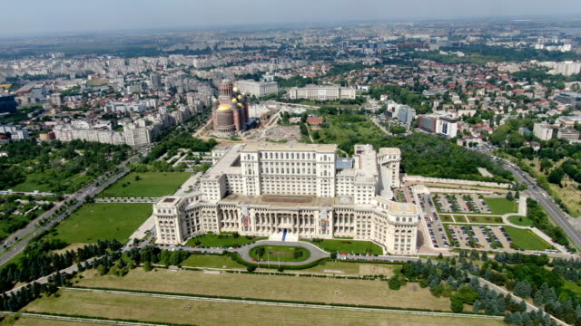 palace of the parliament / aerial drone view - vlad the impaler stock videos & royalty-free footage