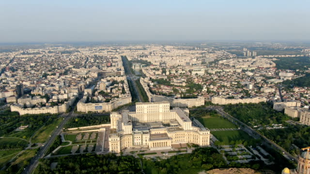 palace of the parliament and bucharest city center / aerial drone view - vlad the impaler stock videos & royalty-free footage