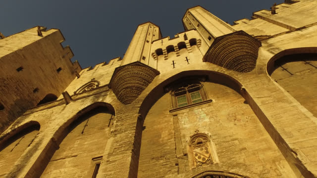 palace of the popes in avignon - palace video stock e b–roll
