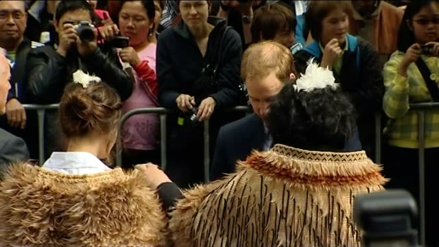 Palace plans freeze on jobs in royal household LIB Wellington EXT Maori men performing haka war dance at welcoming ceremony for Prince William Prince...