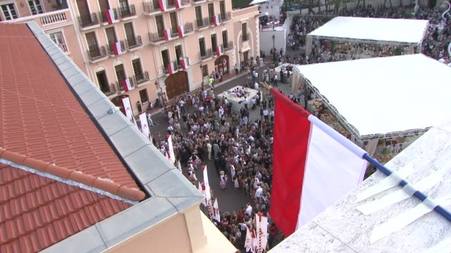 palace square at the monaco royal wedding first appearance of married couple at monaco - royal palace monaco stock videos and b-roll footage